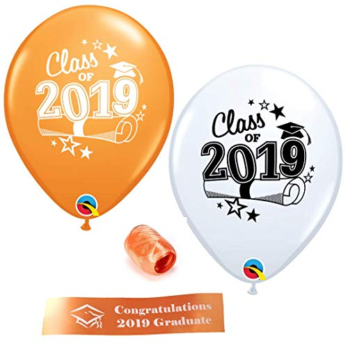 Class of 2019 Graduation Balloons - 12 Orange and White Balloons With Curling Ribbon and Bonus Printed Congratulations ()