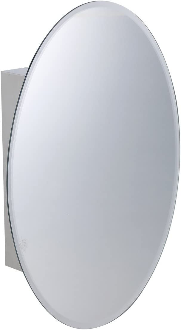 Renovators Supply Manufacturing Medicine Cabinet Brushed Stainless Oval Mirror Wall Mount