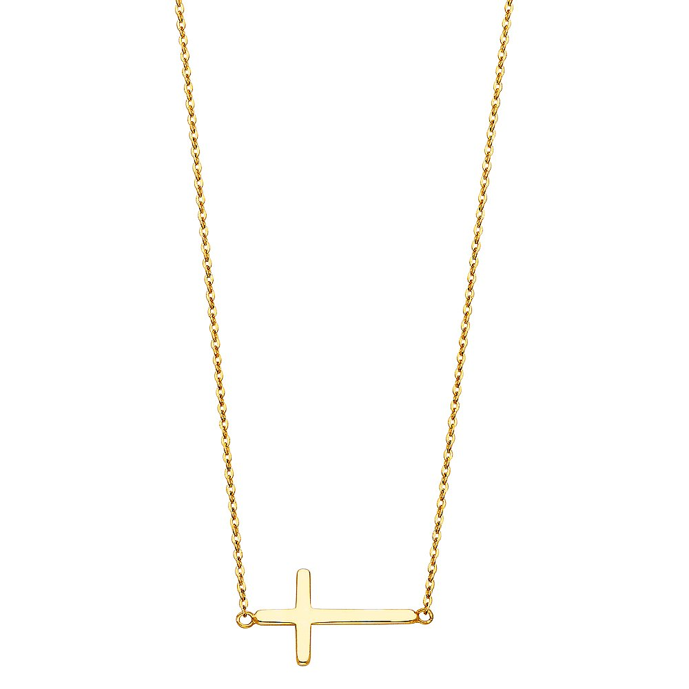14k Yellow Gold Side Way Cross Necklace - 18''