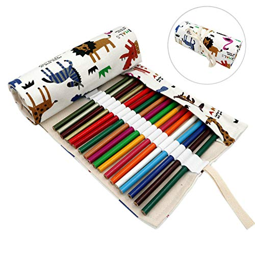 Lumsburry 36/72 Slots Colored Pencils Roll Wrap Bag Pouch Portable Pencils Holder Pen Organizer for Artists Students Painters (Animal, 72-Slot)