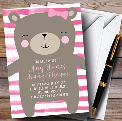 Large Teddy Bear Pink Invitations Baby Shower Invitations