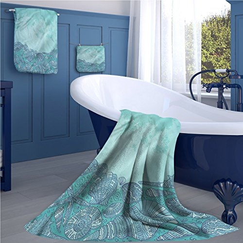 Nautical Popular sports towel set Marine Beauty Shell with Seahorse Starfish Oysters Ocean Sea Tropical Image yoga hand towels set Turquoise - Shell Santana