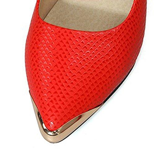 Aisun Kvinna Enkel Lågt Skuren Pekade Tå Yrkeskläder Till Arbetet Kontor Klänning Slip På Flats Shoes Red