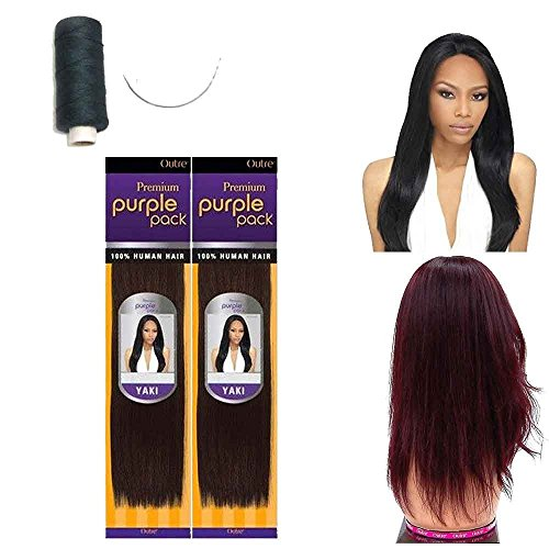 Outre Premium Purple Pack 100% Human Hair Yaki Extension Weave w/ Needle and Thread (10