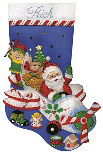 - Tobin Flying Santa Stocking Felt Applique Kit, 18-Inch Long