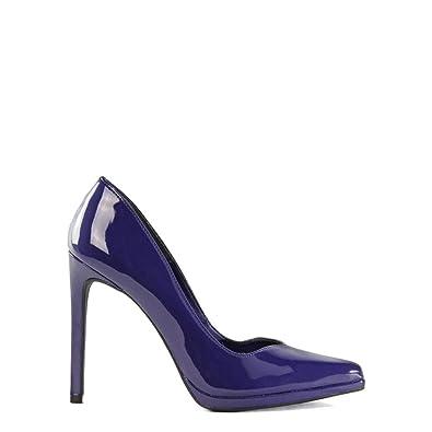 df895f9215 Scarpin clássico verniz salto alto bico fino azul escuro  Amazon.com ...