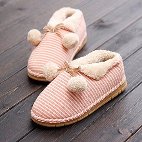 Y-Hui en mobiliario de hogar calzado femenino en el otoño y el invierno cálido interior inferior grueso Anti-Skid zapatillas zapatos en invierno,44-45 (apto para 43-44 pies), naranja