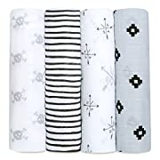 aden + anais Classic Swaddle Baby Blanket, 100% Cotton Muslin, Large 47 X 47 inch, 4 Pack, Lovestruck, Skulls / Arrows / LOVE