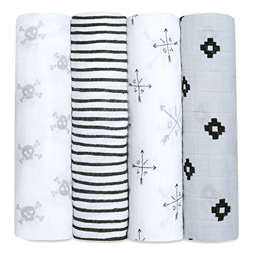 aden + anais Classic Swaddle Baby Blanket, 100% Cotton Muslin, Large 47 X 47 inch, 4 Pack, Lovestruck, Skulls/Arrows / LOVE by aden + anais