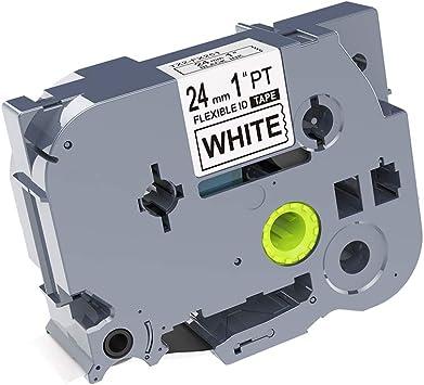 Brother TZE-FX251 Black on White 24mm Flexible Tape TZE-FX251