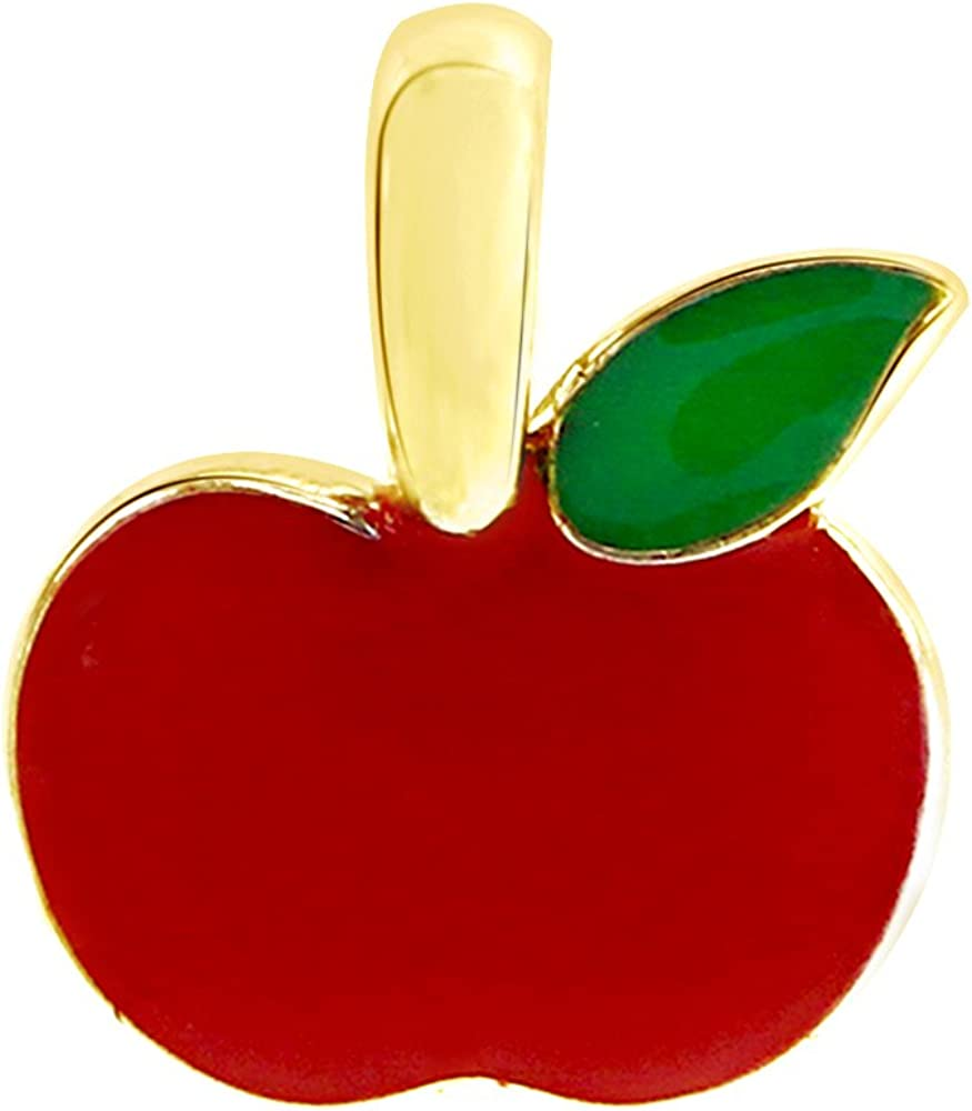 AFFY Jewelry Red & Green Enamel Apple Charm Pendant Necklace in 925 Sterling Silver
