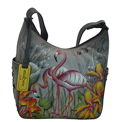 Anuschka Women's Genuine Leather Shoulder Bag | Hand Painted Original Artwork | Classic Hobo With Studded Side Pockets | Flamboyant Flamingos