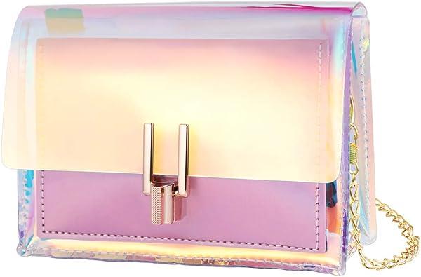 Fenical Borsa a tracolla olografica catena frizione borsa mini trasparente borsa a tracolla per ragazza donna