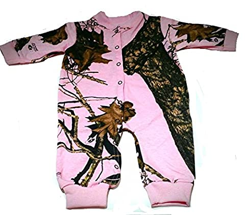 Mossy Oak Pink Camo Infant/Baby Creeper Sizes Newborn to 24M Made in the U.S.A (6-12 Months) - Girls In Camo