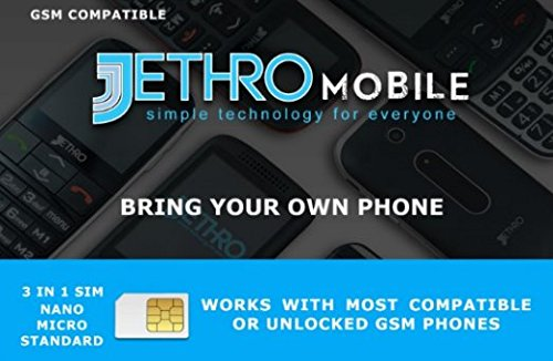 Jethro Mobile USA Travel SIM Card 3G/4G LTE Any Unlocked Cell Phone, Prepaid, Plan, NO Contract network connection, 3-in-1(Universal: Standard, Micro, Nano SIM)