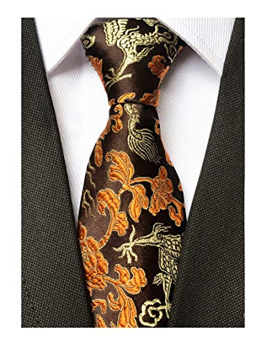 Copper Paisley (Mens Brown Copper Gold Ties Dragon Paisley Novelty Necktie Formal Dress Neckwear)