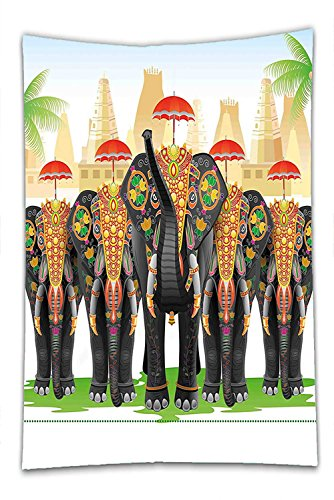Nalahome Fleece Throw Blanket Ethnic Elephants in Traditional Costumes with Umbrellas Indian Ceremony Ritual Graphic Multicolor