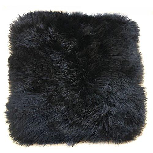 Ustide Genuine Wool Rug Soft Sheepskin Mat Chair/Sofa/Cushion Rug Square Australian Sheep Rug Black 1.47'X1.47'