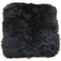 Ustide Luxury Australian Sheepskin Rug Black Wool Mat Chair/ Car Cushion Soft Sheep Skin Floor Mat 1.3X1.3