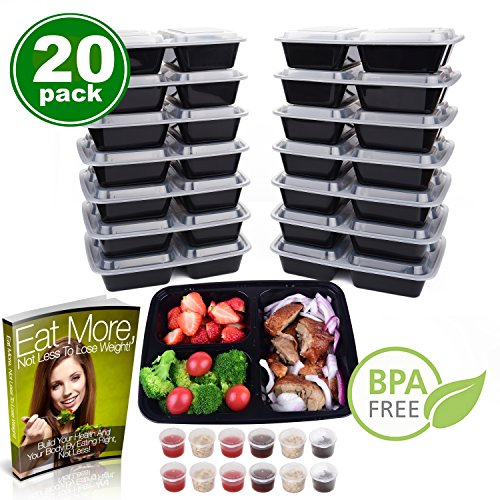 Meal Prep Containers 3 Compartment   & 1.5 oz Sauce Cups, Le