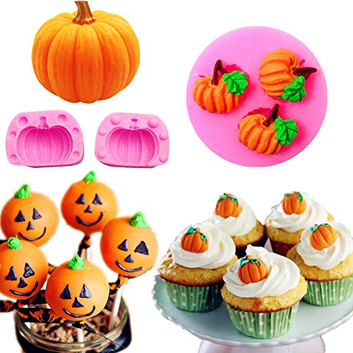 2 Pcs JeVenis 3D Pumpkin Silicone Mold Mini Pumpkin Mold for Thankgiving Cupcake Molds Fondant Cake Decorating Chocolate Candy Clay Moulds for Fall Thanks Giving