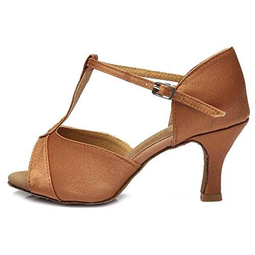 YFF Women's Tango Ballroom Latin Dance Shoes heeled,808 5cm Brown,6