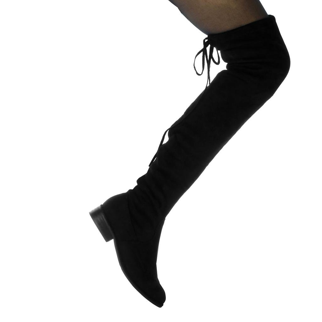 Angkorly Damen Schuhe Oberschenkel-Stiefel - - - Reitstiefel Kavalier - Biker - Flexible - Spitze Blockabsatz 3 cm 844f44