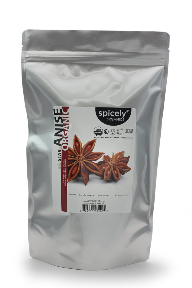 Spicely Organic Anise Star Whole 1LB Bulk Certified Gluten Free