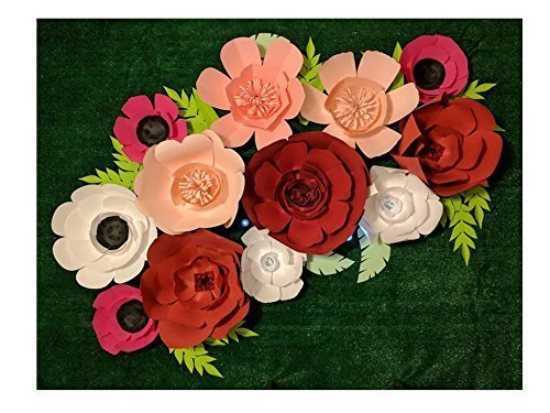 Paper Flowers for Backdrops - includes 12 Paper Flowers and 12 Paper Leaves - Fully Assembled by Flower Adventures