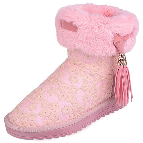 sintetica Comfort abbigliamento donna Round piatto stivaletti stivali Toe NERO Snow tacco pelliccia Scarpe pu Boots inverno casual ROSA HSXZ stivaletti Black di 5xpTwXYFT