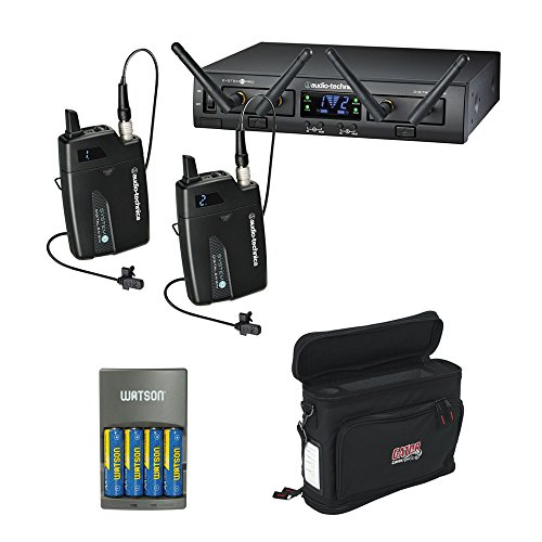 Audio-Technica ATW-1311L System 10 PRO Rack-Mount Digital Dual Lavalier Mic System (2.4 GHz) with GM-1W Wireless Mobile Pack & 4-Hour Rapid Charger (1000 Rackmount Kit)