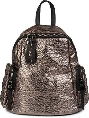 styleBREAKER Rucksack Handtasche in Metallic Stepp Optik und Reißverschluss, Tasche, Damen 02012199, Farbe:Dunkelbraun Metallic Bronze Metallic