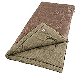 Coleman Oak Point Cool-Weather Big and Tall Sleeping Bag 147 Adult sleeping bag for camping in temperatures as low as 30°F Can accommodate most people up to 6 feet 4 inches tall Coletherm insulation, Fiberlock construction, flannel lining, and Thermolock draft tube for warmth and heat retention