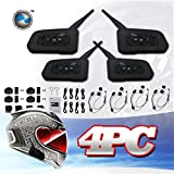 LEXIN® 4x Waterproof Bluetooth Intercom System for Motorcycles/Motorbikes - Connect Up to 6 Riders At Max 1000 M Distance - 2-Way Radio Helmet Headset - Connects to Bluetooth Mobile Phones and MP3 Players