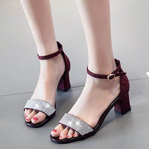 Womens Party Strap Red Toe Chunky T Buckle Ankle Peep Dress Heel Slide JULY Sandals Sparkle Glitter Pumps Slides Ladies Sex 1fn5Rw