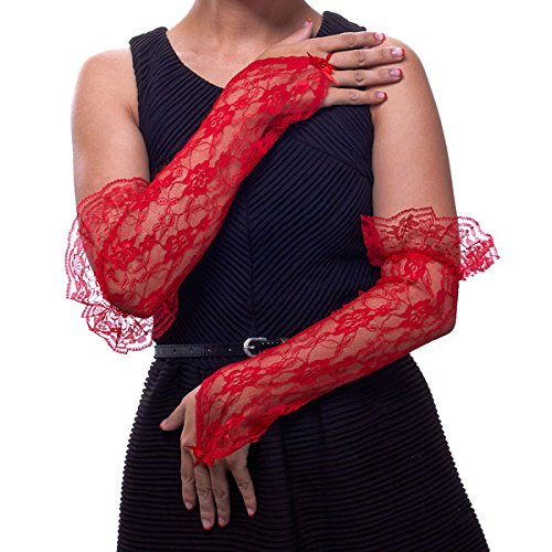 Texas Rosebud Lace Fingerless Gloves with Ruffle (Red) by Greatlookz