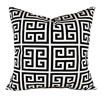 Amazon Pillow Cover CLEARANCE Black And Cream Greek Key Stunning Decorative Pillows Clearance