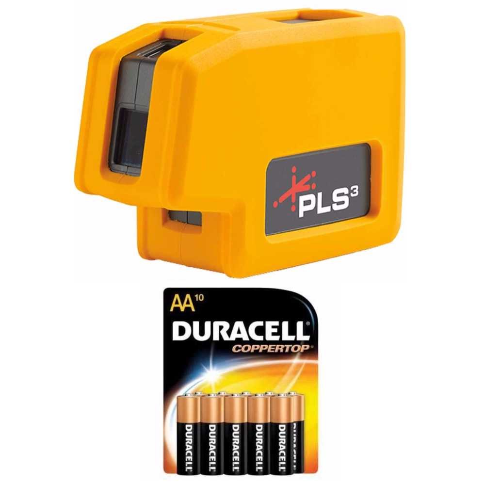 Pacific Laser Systems PLS 3 Red Tool With 10 Pack Duracell AA Batteries