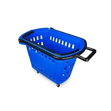 Yonhoo Cesta de Compra para Supemercado 40L (4 Ruedas + 2 Asas) (40 litros, Azul): Amazon.es: Hogar
