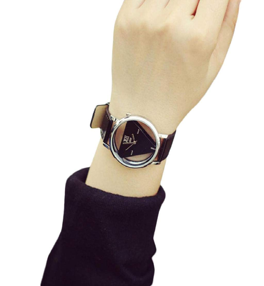 Clearance Sale!DEESEE(TM)Unique Hollowed-Out Triangular Dial Fashion Watch (Black)