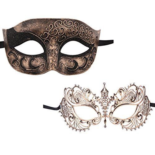 Xvevina One Pair Venetian Mask Masquerade Mask for Couples (Vintage Gold -