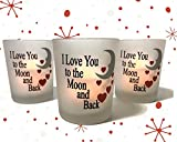 I Love You to the Moon & Back Frosted Glass Votive Holders - Red Hearts & Silver Moon - Set of 3 Assorted - Three Flameless Flickering LED Candles Included