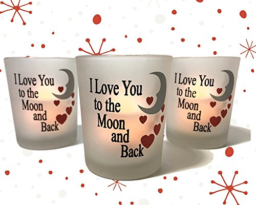 I Love You to the Moon & Back Frosted Glass Votive Holders - Red Hearts & Silver Moon - Set of 3 Assorted - Three Flameless Flickering LED Candles Included Glass Love Heart Tealight Holder