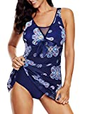 Plus Size Women Swimsuits One Piece Bathing Suits Tummy Control Mesh Vintage Swimdress Halter Athletic Swimwear Mix-Navy 18-20