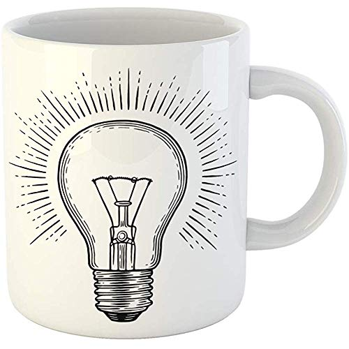 Coffee Tea Mug Gift 11 Oz Funny Ceramic Vintage Engraving Light Bulb Lightbulb Lamp Draw Gifts For Family Friends Coworkers Boss Mug