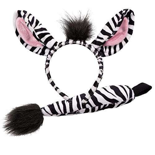 Wicked Zebra Ears & Tail Animal Fancy Dress Accessory Set -