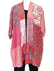 Womens Coral Cascading Patch Kimono Jacket Art to Wear Plus Size