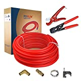 Pexflow PXKTOB121000 Starter Kit - 1/2 Inch X 1000 Feet Oxygen Barrier PEX Tubing, Crimp & Cutter Tool, Oetiker Crimp Rings, Half Clamp Pex Barb Elbow Straight Coupling Pex Barb Plug Full Strap w/Nail