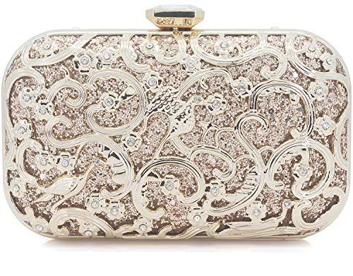 Dexmay Formal Flower and Bird Evening Bag for Wedding Party Luxury Glitter and Rhinestone Crystal Clutch Purse - Clutch Champagne