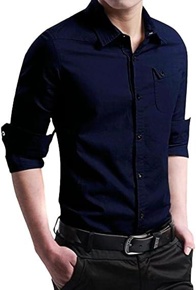 Camisas de Hombre, Los Hombres de otoño Casual Militar Cargo Delgado botón de Manga Larga Camisa de Vestir Tops Blusa: Amazon.es: Ropa y accesorios